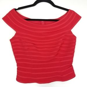 JS Collections Petite Red Off The Shoulder Top